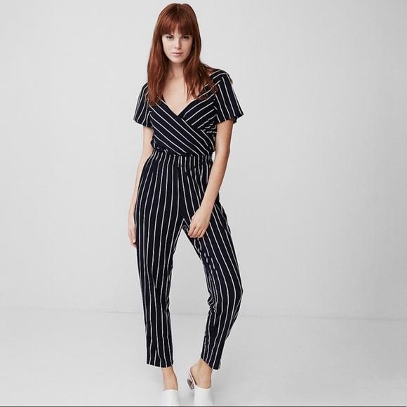 EXPRESS Black White Stripe Faux Wrap Jumpsuit XS